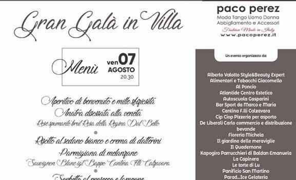 Cena in Villa – Villa Querini Calzavara Pinton – 7 agosto 2020 ore 20:30